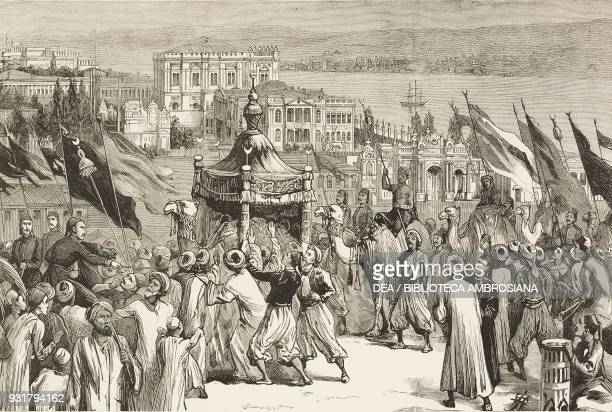 The sacred camel leaving the Sultan's palace at Istanbul with gifts for the shrine of Prophet at Mecca Turkey illustration from the magazine The...