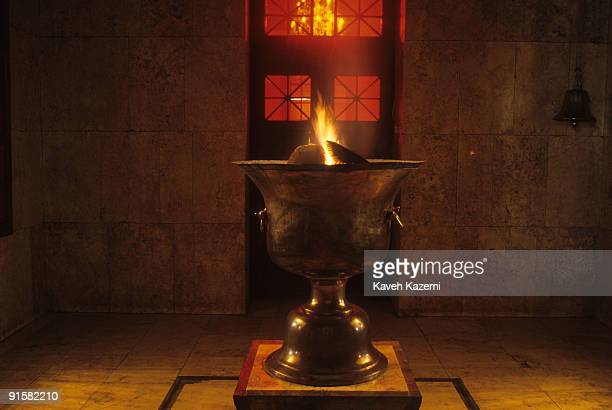 The sacred fire burning at the Zoroastrian fire temple in Yazd Iran circa 1995