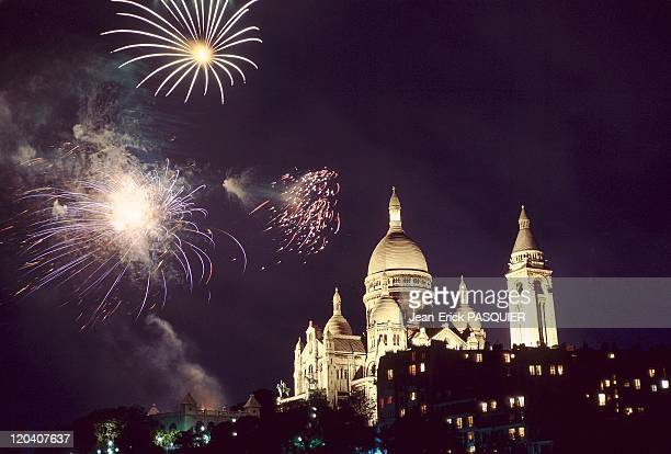 The Sacred Heart In Paris France Fireworks in Montmartre