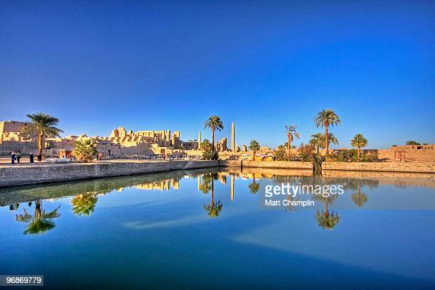 the sacred lake at karnak - temples of karnak stock pictures, royalty-free photos & images