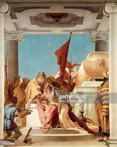 The sacrifice of Iphigenia by Giambattista Tiepolo fresco Detail Hall of Iphigenia Villa Valmarana 'Ai Nani' Vicenza