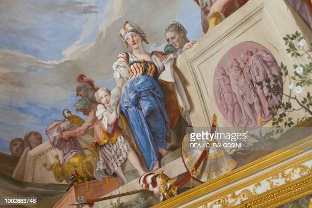 The Sacrifice of Iphigenia detail by Giambattista Crosato fresco vaulted ceiling of the anteroom Queen's apartment Hunting residence by Filippo...