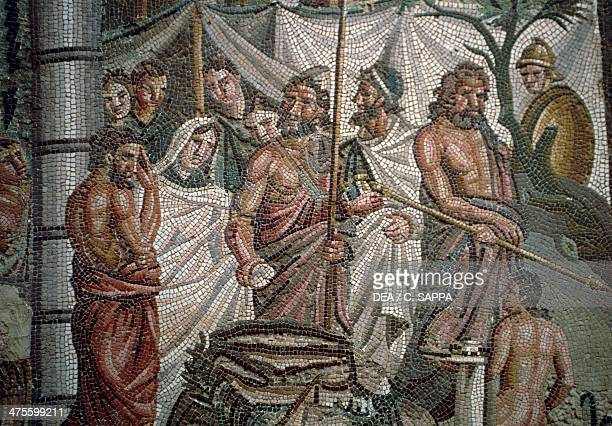 The Sacrifice of Iphigenia mosaic from Ampurias Greek city founded in the 6th century BC Catalonia Spain Roman civilisation 1st century Ampurias...
