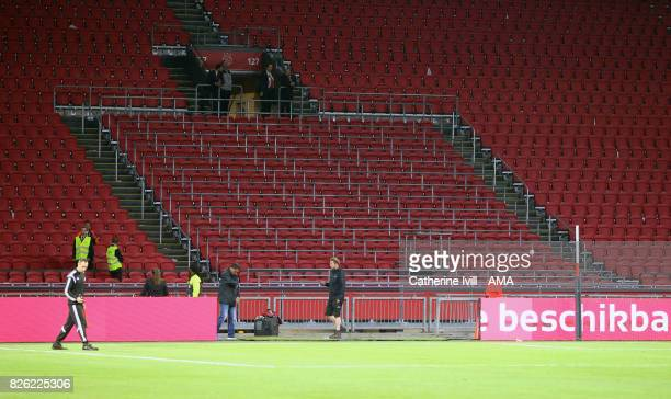 The safe standing area in the stands can be seen after the UEFA Champions League Qualifying Third Round match between Ajax and OSC Nice at Amsterdam...