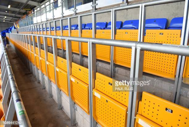 The safe standing section at the Montgomery Waters Meadow stadium is pictured ahead of the English FA Cup fourth round football match between...