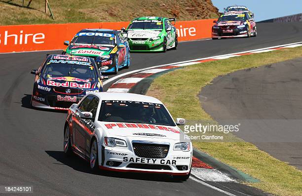 The safety car controls the field during the Bathurst 1000 which is round 11 of the V8 Supercars Championship Series at Mount Panorama on October 13...