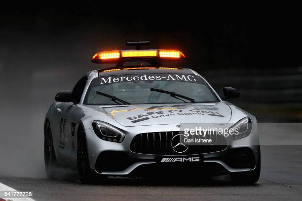 The Safety Car drives on track during a rain delayed final practice for the Formula One Grand Prix of Italy at Autodromo di Monza on September 2 2017...