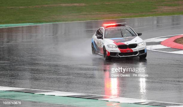 The safety car goes round the track as the the GoPro British Grand Prix MotoGP is delayed at Silverstone Towcester