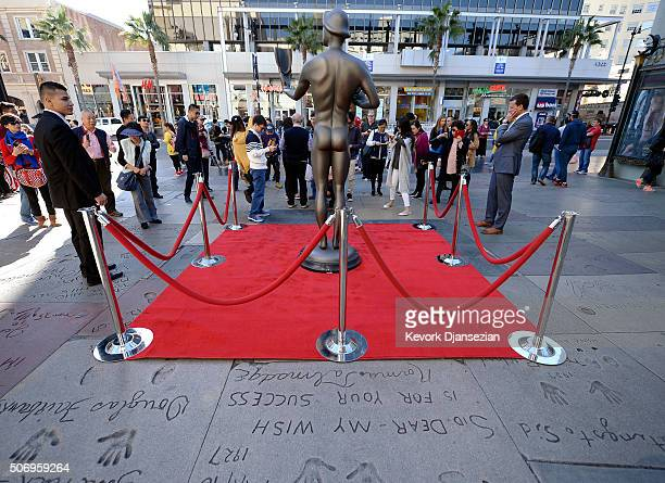 The SAG Awards Actor visits Hollywood's TCL Chinese Theatre in preparation for the 22nd Annual Screen Actors Guild Awards January 26 2016 in...