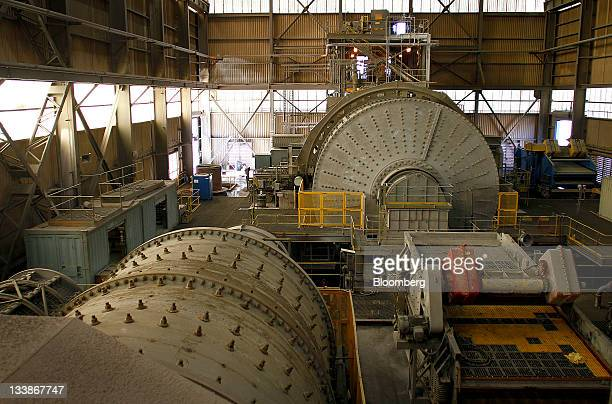 The sag ball mill which grinds rocks to a fine powder sits unused at the Asarco LLC Ray Operations copper mine in Kearny Arizona US on Thursday Nov17...