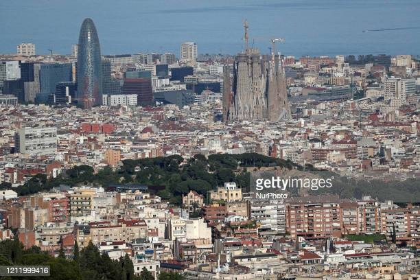 The Sagrada Familia and the Glorias Tower Barcelona reaches historic lows in air pollution on 06th May 2020