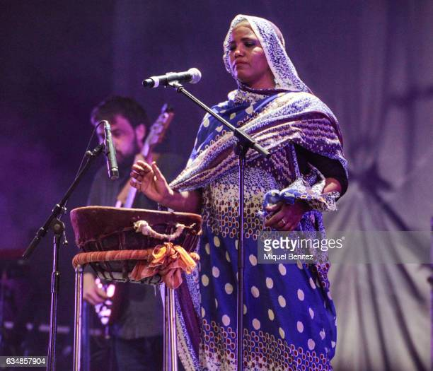 The Saharawi singer Aziza Brahim performs 'Julud' live on stage during the 'Gran Concert de les Persones Refugiades' 'Big Concert for Refugee People'...
