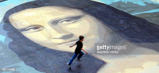 The said to be world's largest paint by numbers Mona Lisa reproduction is unveiled at the Eagles Meadow shopping centre in Wrexham north Wales on...