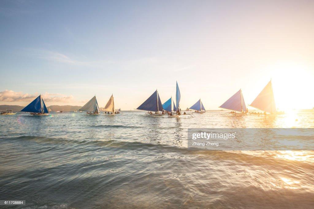 the sailing boat in Boracay : Foto stock