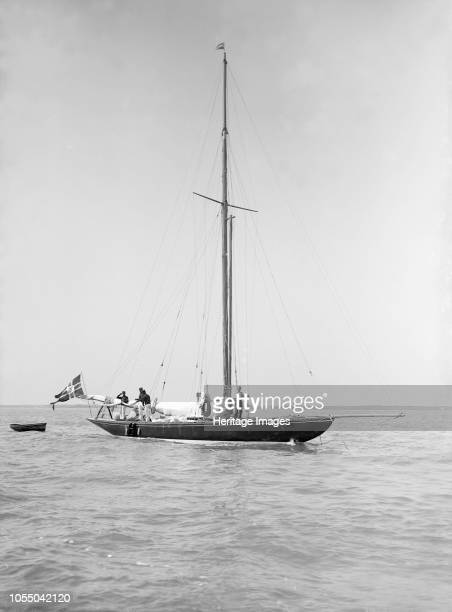 The sailing yacht 'Rollo' at anchor 1911 Johan Anker the designer of Rollo helmed the yacht for the 1911 Coronation Regatta in the Solent where he...