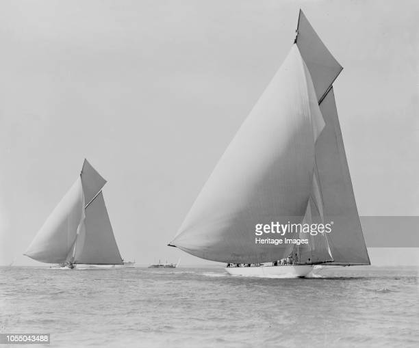 The sailing yachts 'White Heather' and 'Shamrock' race downwind 'Shamrock' was designed by William Fife and was Sir Thomas Lipton's first challenger...