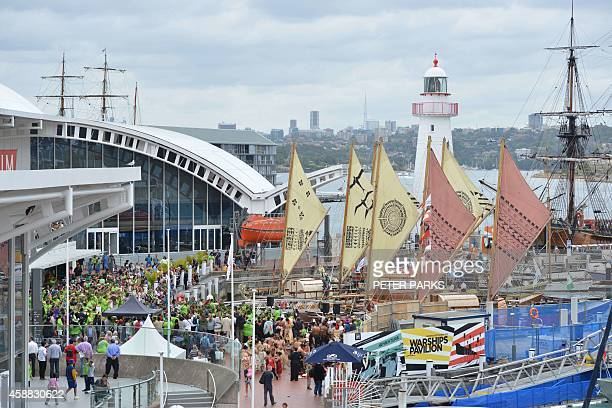 The sails of traditional wooden boats from the pacific island nations are seen in Darling Harbour after arriving in Sydney on November 12 2014...
