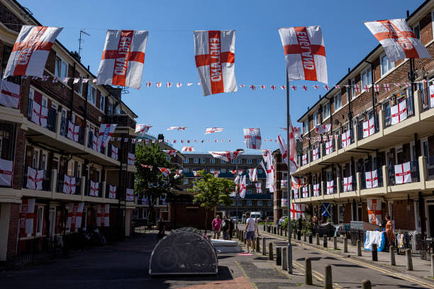 GBR: Kirby Estate In Bermondsey Adorned In England's Flag Ahead Of Euros