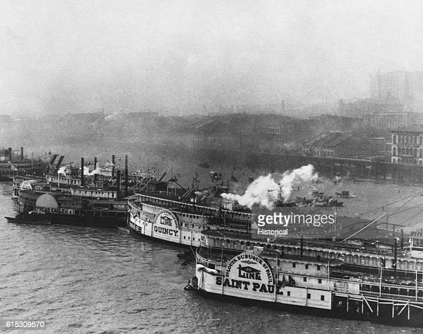 The Saint Louis Missouri waterfront crowded with steamboats at the start of President William H Taft's inspection trip down the Mississippi River...
