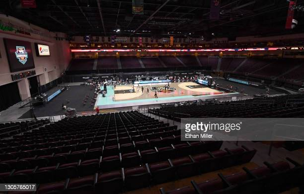 The Saint Mary's Gaels and the Loyola Marymount Lions play in front of empty stands during the West Coast Conference basketball tournament...