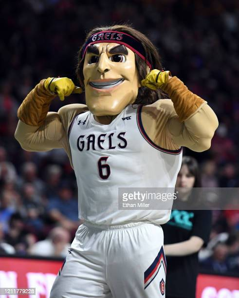 The Saint Mary's Gaels mascot performs as the team takes on the Gonzaga Bulldogs in the championship game of the West Coast Conference basketball...