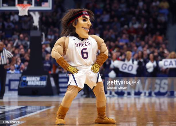 The Saint Mary's Gaels mascot walks on the court in the second half against the Villanova Wildcats during the first round of the 2019 NCAA Men's...