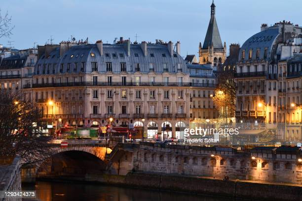 """The """"Saint Michel"""" area along the Seine in the Latin quarter on December 15, 2020 in Paris, France."""