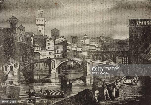 The Saint Trinity Bridge on the Arno River Florence Italy illustration from Teatro universale Raccolta enciclopedica e scenografica No 145 April 15...