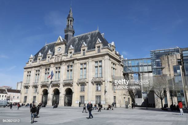 The SaintDenis city hall is pictured on April 6 2018 in SaintDenis near Paris / AFP PHOTO / Ludovic MARIN
