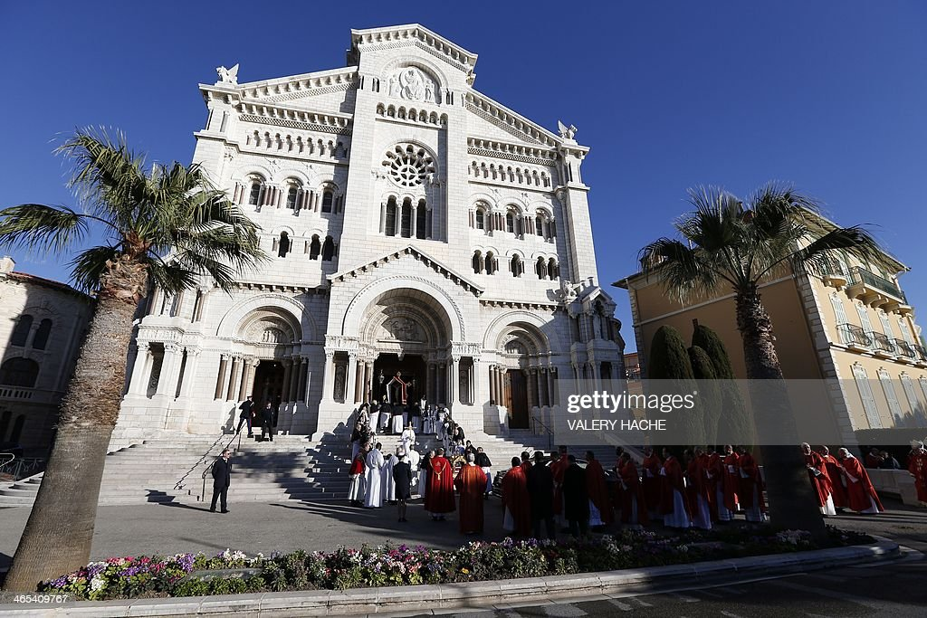 The Sainte Devote (holly Devote) procession arrives at the Monaco Cathedral during the Sainte-Devote festivities, on January 27, 2013, in Monaco. Saint Devote is the patron saint of the Grimaldi family, reigning in Monaco, and is celebrated each year as a national holiday.