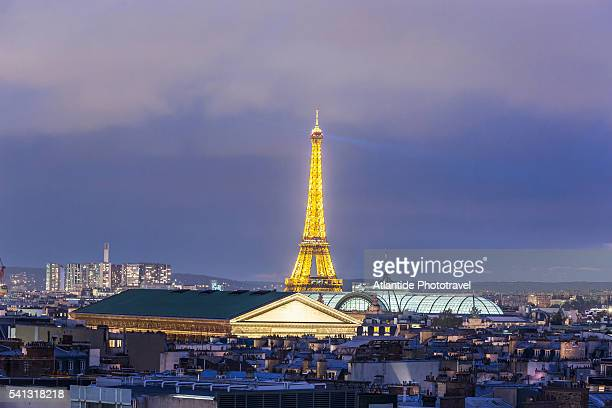 the sainte marie madeleine church, the grand palais (palace) and the tour (tower) eiffel from galeries lafayette roof terrace - champs elysees quarter stock pictures, royalty-free photos & images