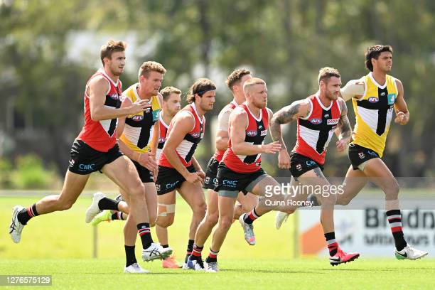 The Saints do run throughs during a St Kilda Saints AFL training session at Maroochydore Multi Sport Complex on September 25 2020 in Sunshine Coast...
