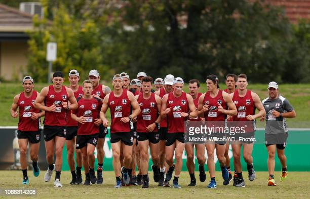 The Saints perform running drills during a St Kilda Saints AFL training session at RSEA Park on November 29 2018 in Melbourne Australia