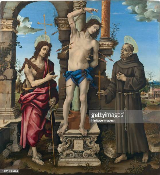 The Saints Sebastian John the Baptist and Francis of Assisi Found in the Collection of Musei di Strada Nuova Genoa