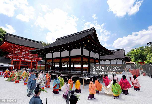 The 'Saiodai' queen principle figure of festival wearing a 12layered ceremonial kimono of Heian Period court ladies called Junihitoe arrives at...
