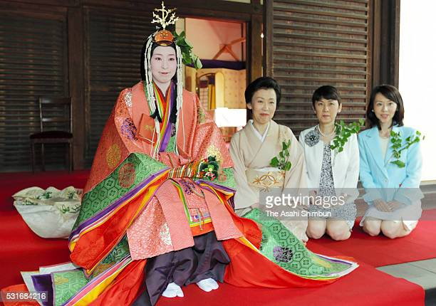 The 'Saiodai' queen principle figure of festival wearing a 12layered ceremonial kimono of Heian Period court ladies called Junihitoe is seen prior to...