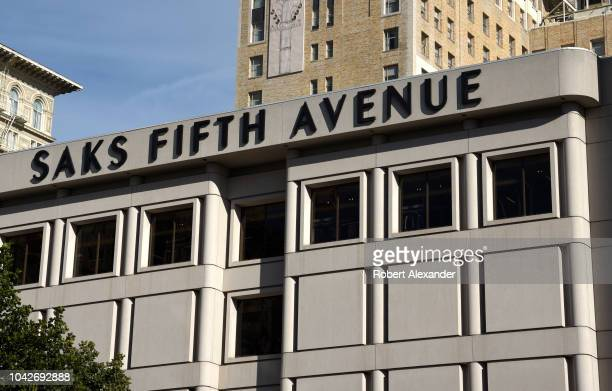 SAN FRANCISCO CALIFORNIA SEPTEMBER 12 2018 The Saks Fifth Avenue building in Union Square in San Francisco California