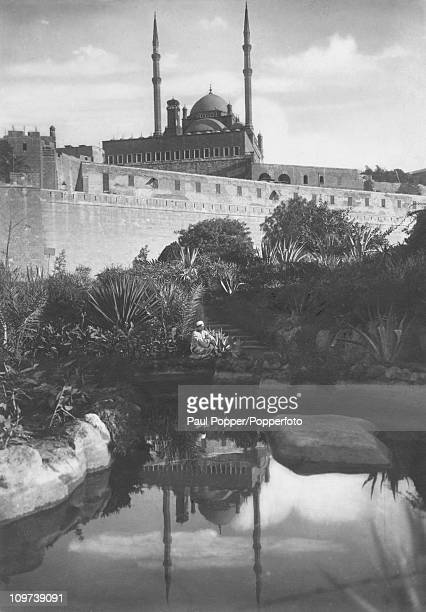 The Saladin Citadel in Cairo Egypt with the Mosque of Muhammad Ali in the background circa 1920