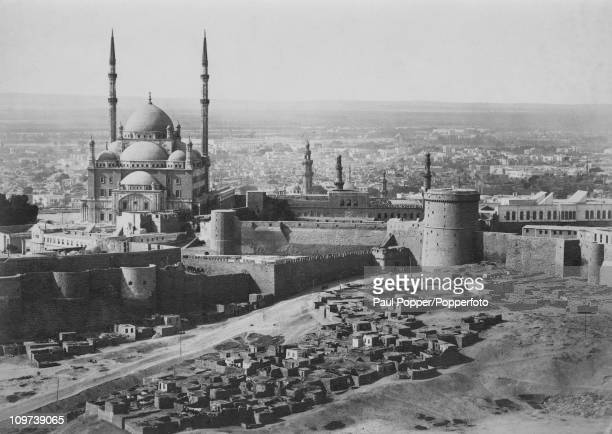 The Saladin Citadel in Cairo Egypt with the Mosque of Muhammad Ali on the left circa 1920
