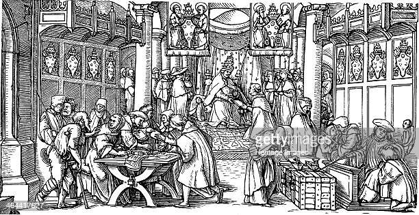 The sale of indulgences . From a private collection.