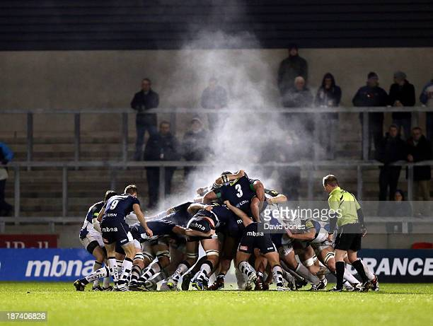 The Sale Sharks and Bath Rugby strain to win a scrum during the LV= Cup Round 1 match between Sale Sharks and Bath Rugby at AJ Bell Stadium on...