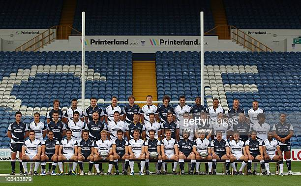 The Sale Sharks squad line up for a team photograph during a photocall at Edgeley Park on August 18 2010 in Stockport England