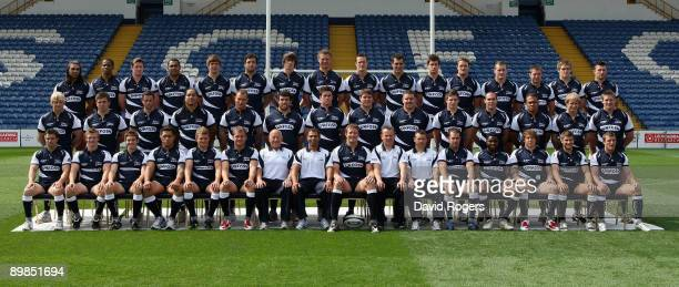 The Sale Sharks team pose for a squad photo at Edgeley Park on August 18 2009 in Stockport England