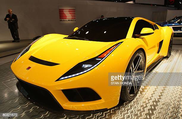 The Saleen S5S Raptor concept car on display March 20 2008 at the New York International Auto Show the V8 50 liter supercharged engine produces 650...
