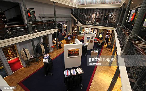 The sales floor of the Gieves Hawkes store owned by Trinity Ltd is seen on Saville Row in London UK on Tuesday Aug 7 2012 UK retail sales rose in...