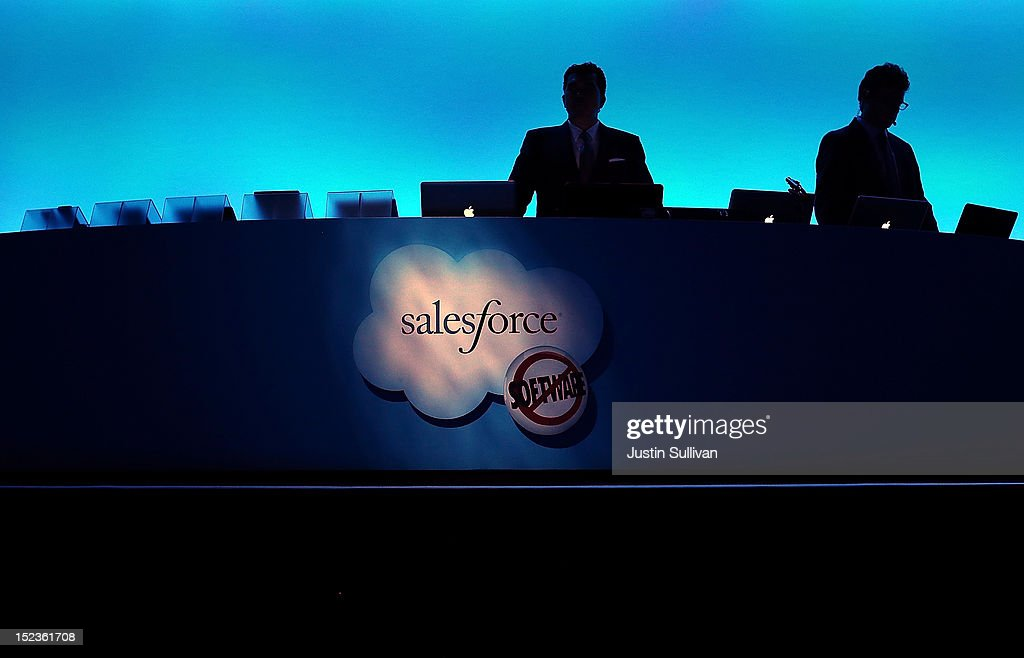 The Salesforce logo is displayed on a podium during the Dreamforce 2012 conference at the Moscone Center on September 19, 2012 in San Francisco, California. A reported 90,000 people registered to attend the cloud computing industry conference Dreamforce 2012 that runs through September 21.