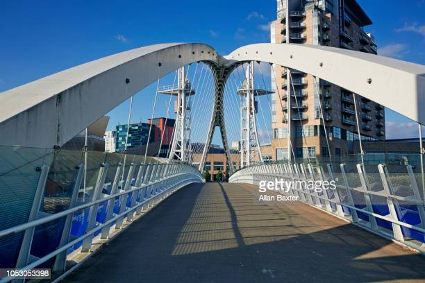 The 'Salford Quays Millennium footbridge' at midday