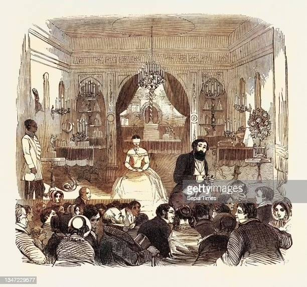 The Salle De Robin, Piccadilly, London, UK. M. Robin Leads on Madame Blindfolded, and Seats Her on an Ottoman in the Centre of the Stage, Fronting...