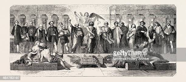 The Salon Of 1855 The Pillory Painting By M Glaize Engraving 1855