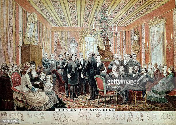 The salon of Victor Hugo French writer in Paris 21 street of Clichy colour engraving after Adrien Marie present in the literary salon Victor...